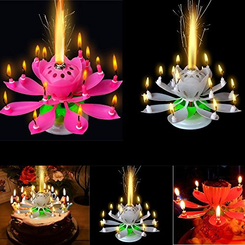FomCcu Amazing Lotus Rotating Musical Candle Toy For Kids Happy Birthday Flower