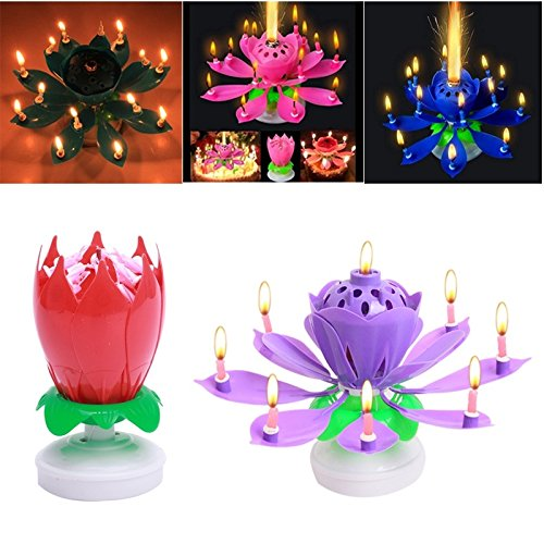 FomCcu Amazing Lotus Rotating Musical Candle Toy For Kids Happy Birthday