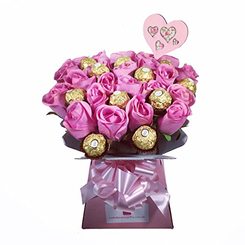 Luxury Silk Pink Roses And Ferrero Rocher Chocolate Bouquet Florists
