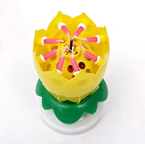 Music Candle Novelty Blooming Lotus Flower