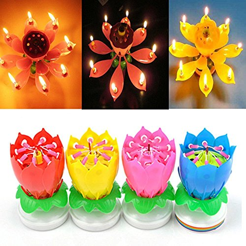 SYF 4 Pack Romantic Happy Birthday Music Play Lotus Candle Magic Musical Flower